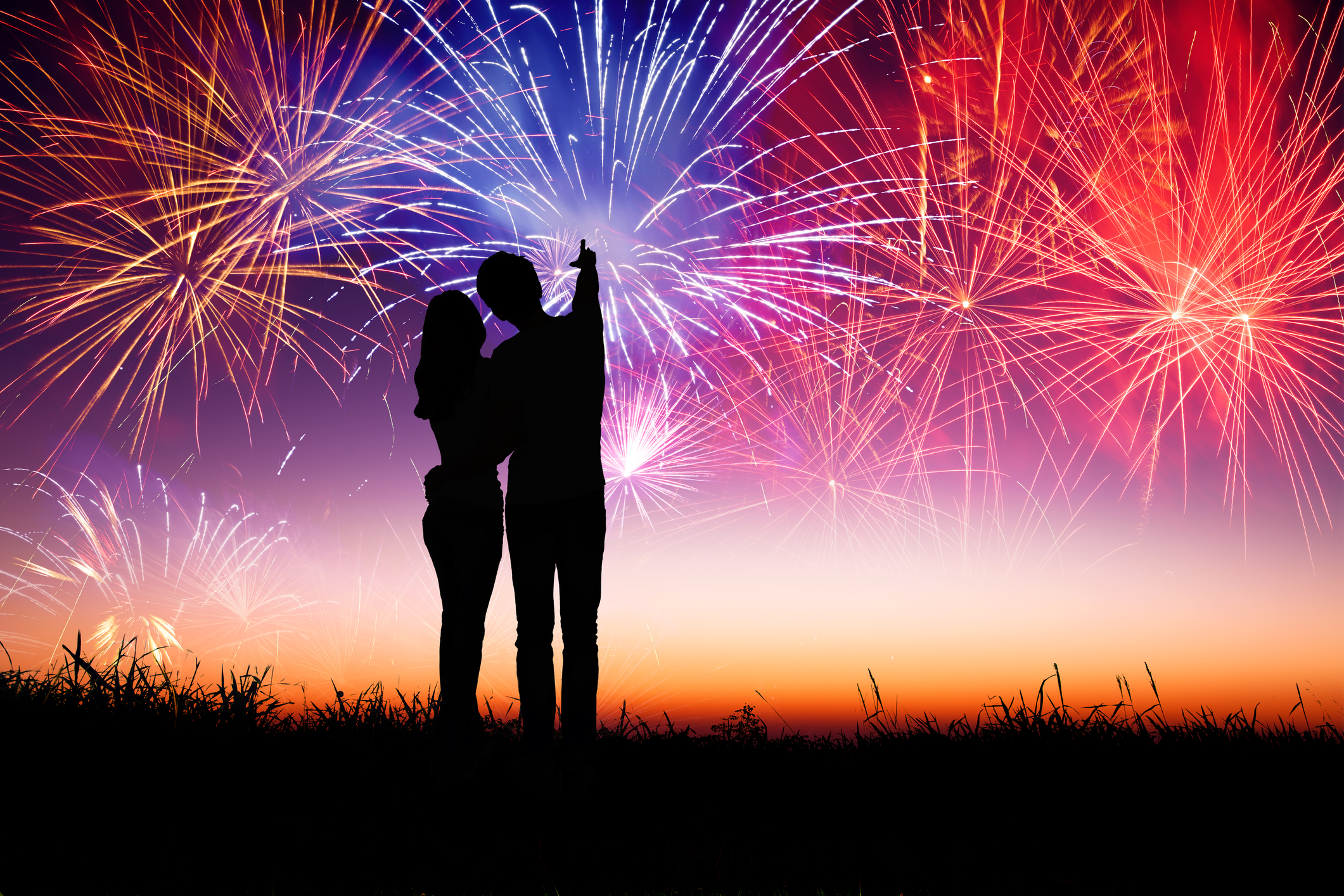 Couple looking at fireworks.