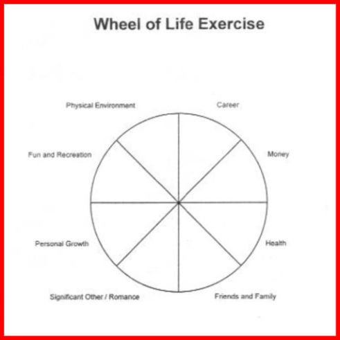 Diagram for wheel of life exercise.